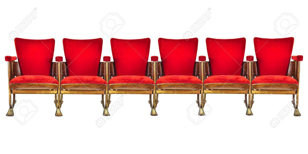 Row Of Six Red Vintage Cinema Chairs Isolated On A White Stock Photo    31087000
