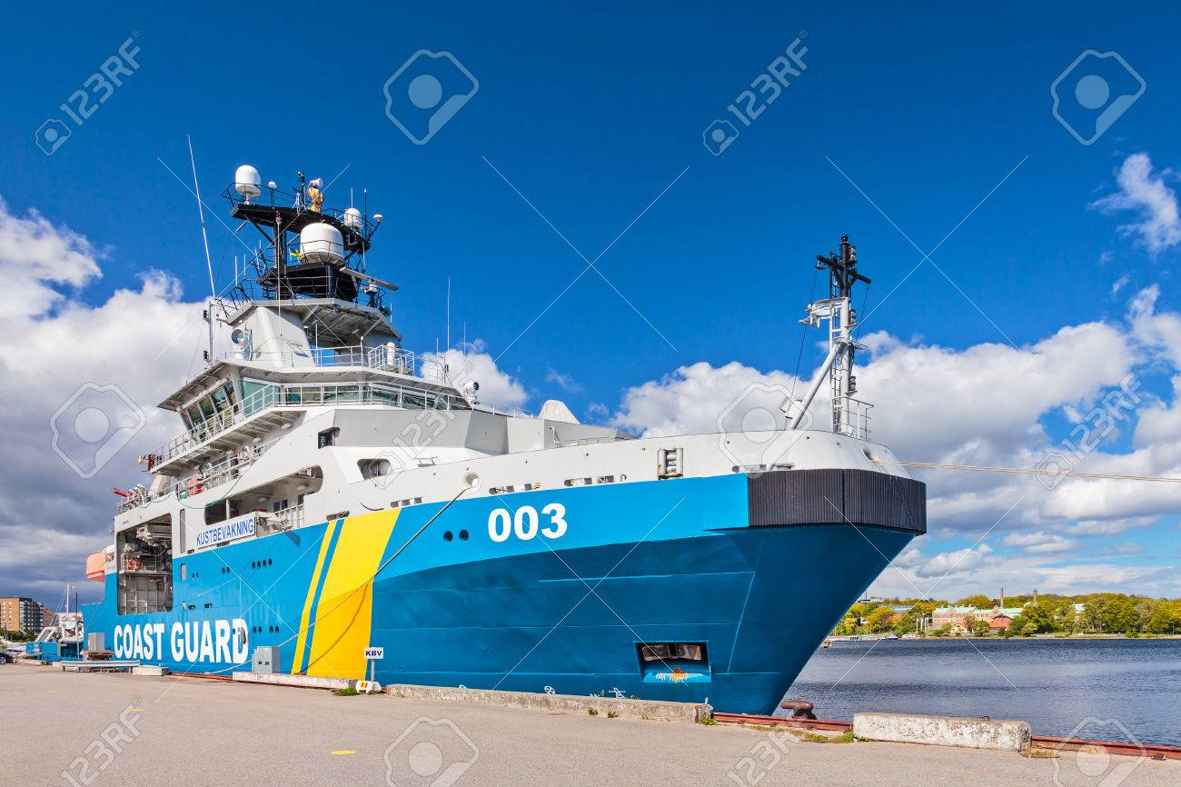 KARLSKRONA SWEDEN MAY 26 2015 Swedish Coastguard Ship In The Harbour Of City
