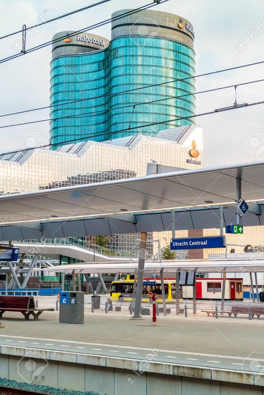 Stock Photo - UTRECHT, THE NETHERLANDS – AUGUST 16, 2017: Utrecht central  train station with the Dutch international Rabobank Group headquarters in  Utrecht, ...