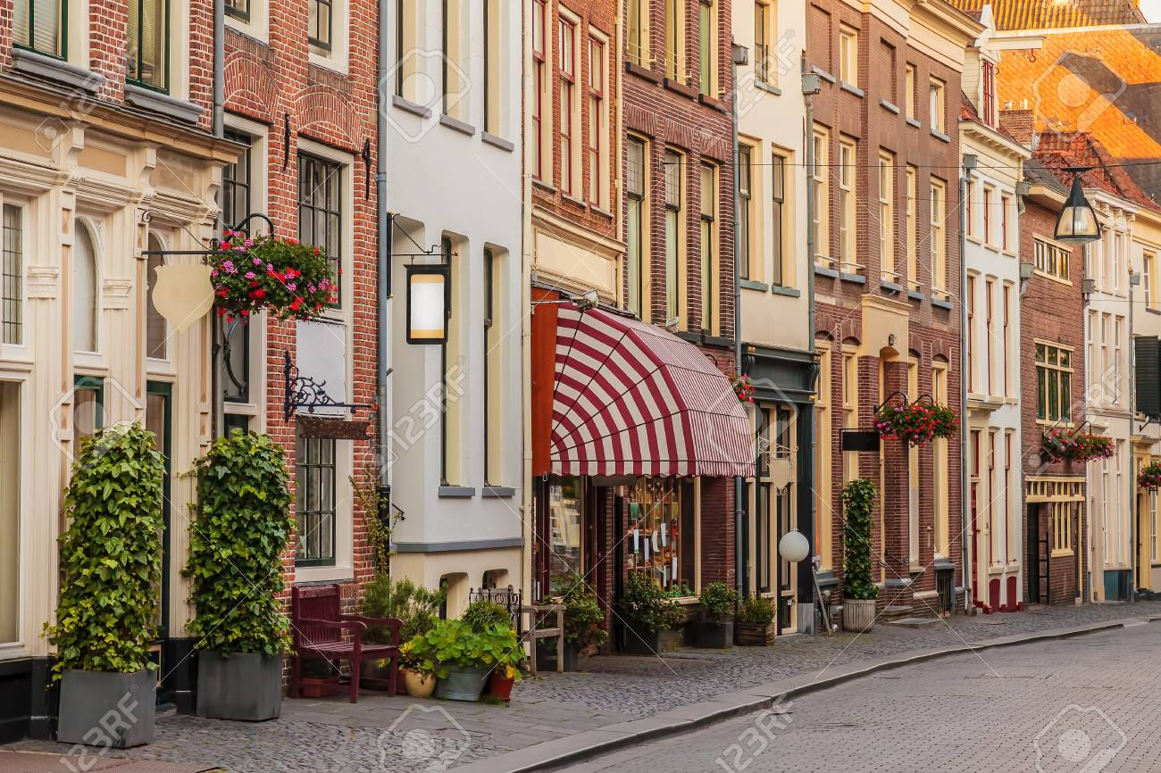 Ancient shopping street in the historical center of the Dutch