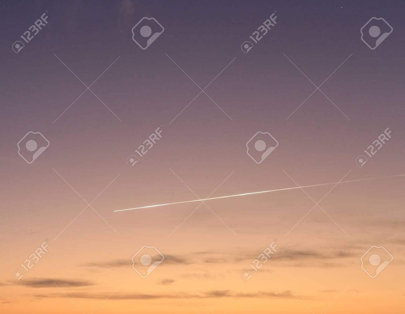 flying meteor on morning sky background
