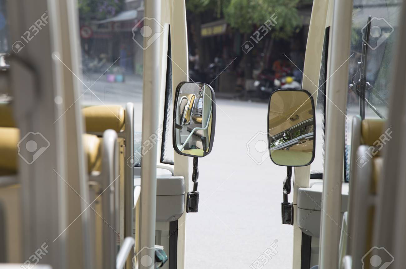Close Up Of A Mirror On Electric Car Asia Street Stock Photo