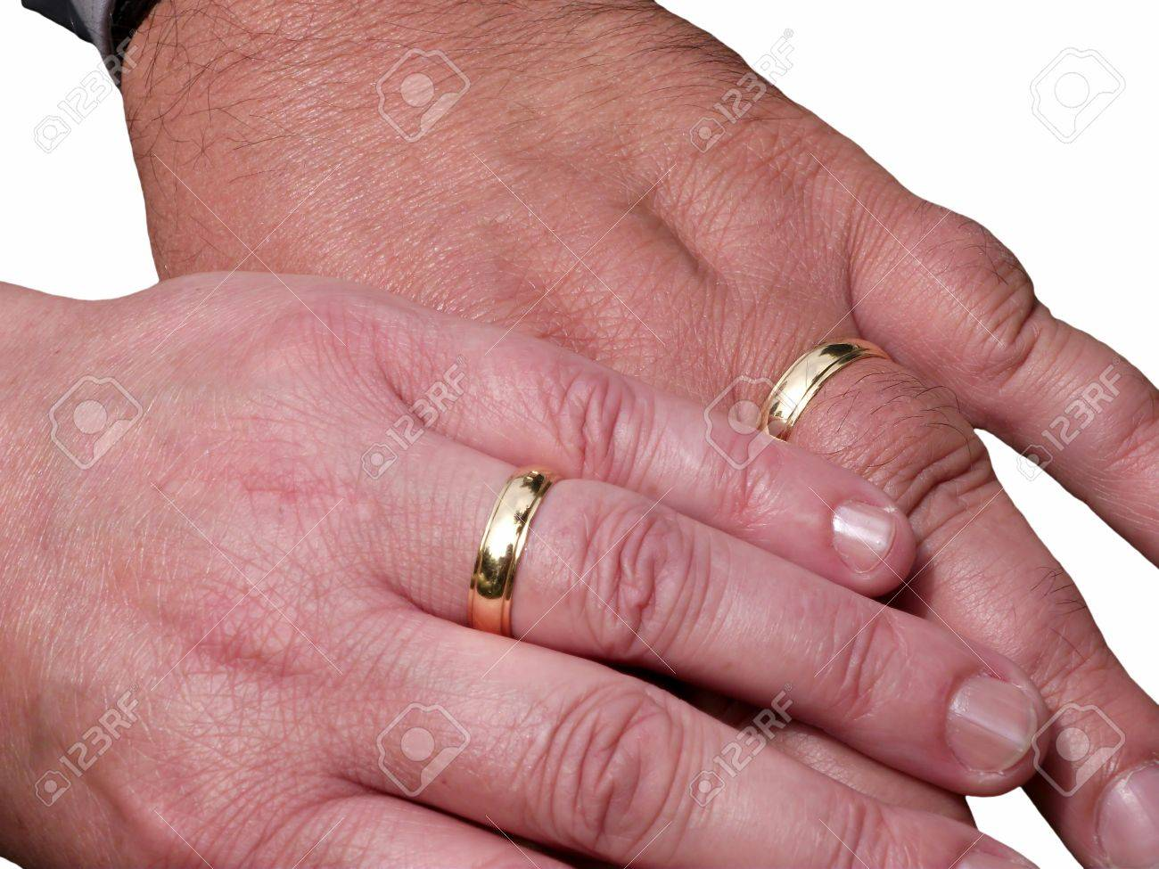 Two Hands With Wedding Rings Stock Photo, Picture And Royalty Free ...