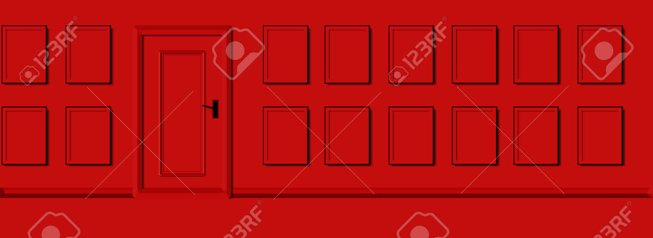 panorama red wall door and emty frames photos, 3d design, horizontal abstract for portofolio or gallery - 162652703