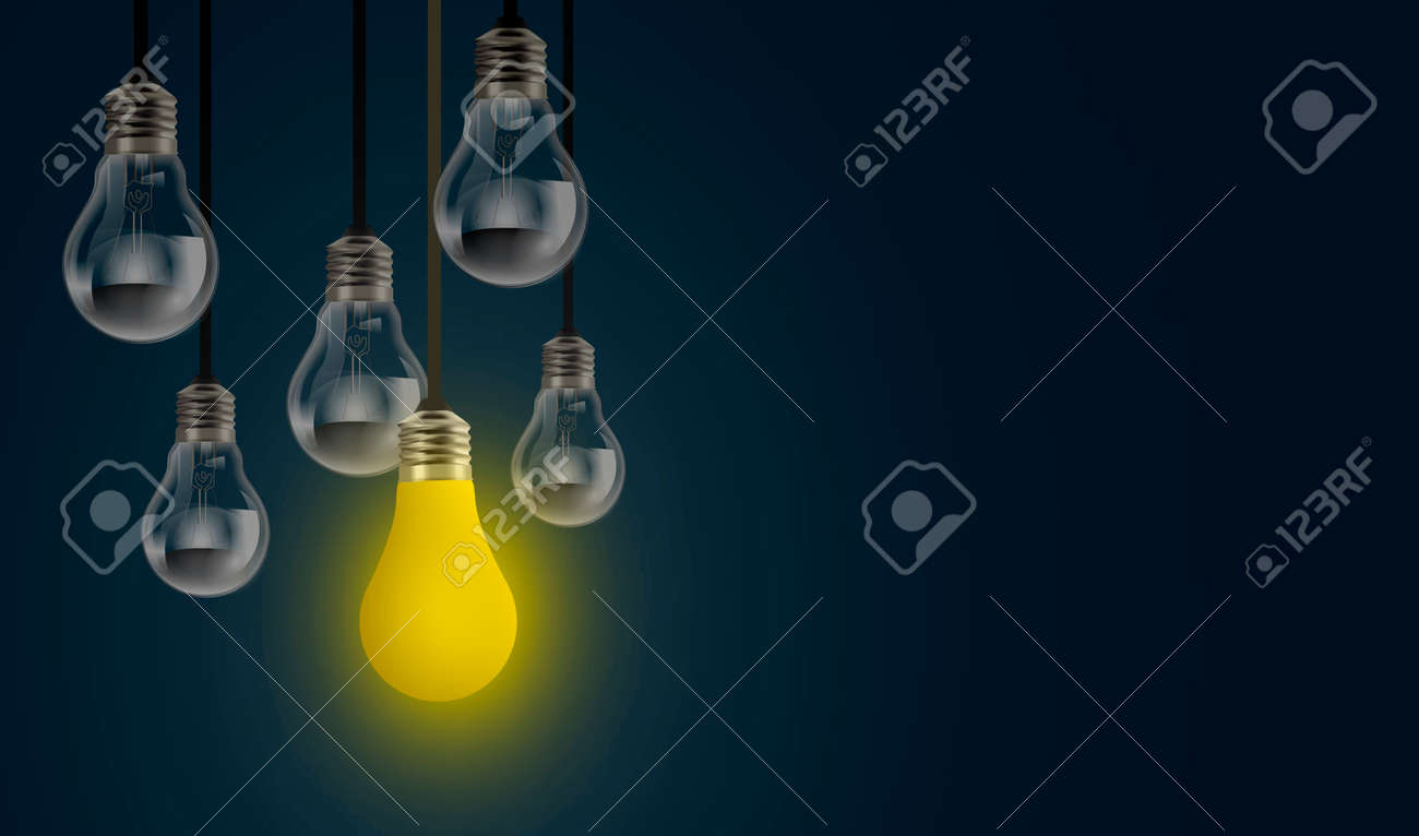 Conceptual image of light bulb inspiration with copy space, one light bulb glows in row, front view on dark night blue background. Light-bulb business creative idea concept. - 165219627