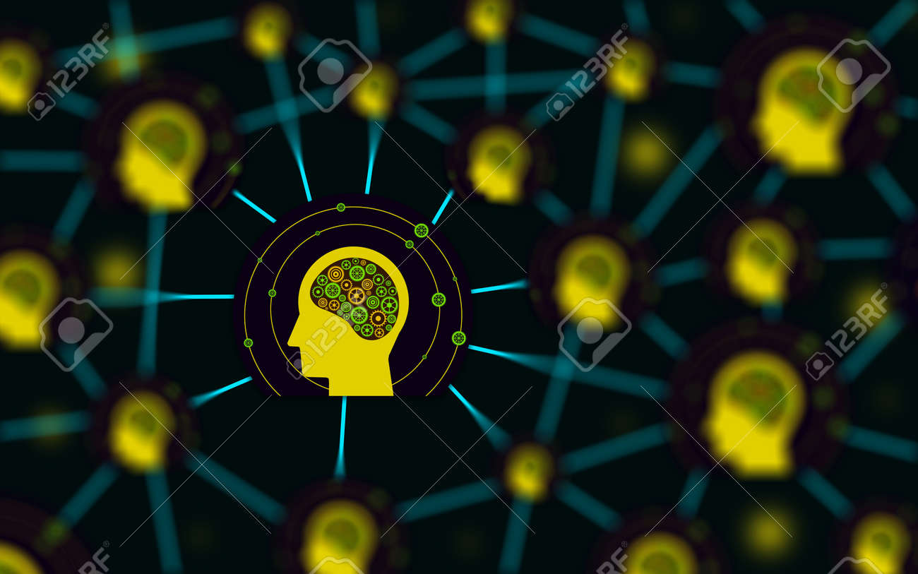 Network and artificial intelligence concept. connection and communication between human brains. Futuristic conceptuel illustration - 165883037