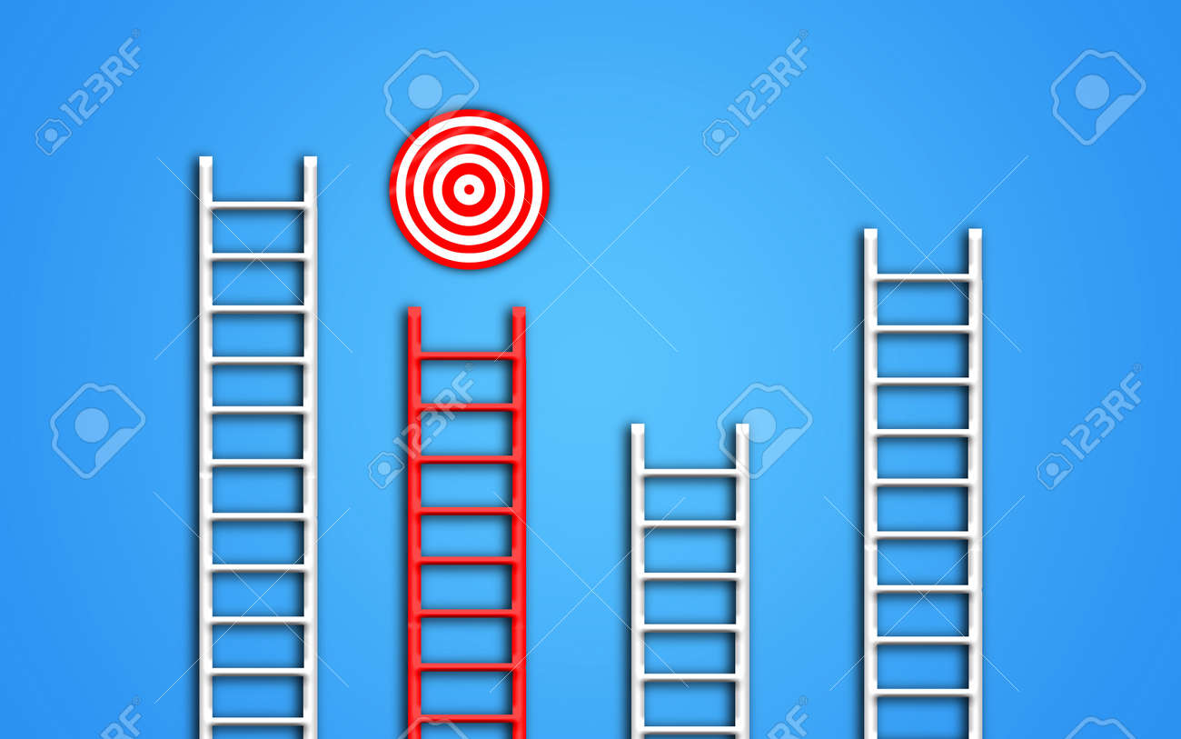Stand out of the crowd and think different creative concept idea. red ladder targeting the right goal while other ladders (crowd) are just lost. conceptuel illustration - 166651974
