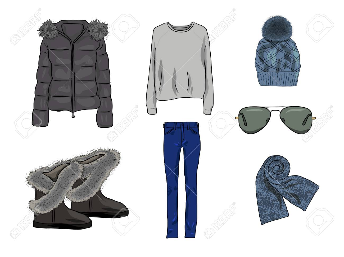 fc005ba8e61a Vector - Vector stylish fashion set of woman autumn, spring or winter  clothes and accessories. Casual colorful outfit with jacket, jumper, cap,  glases, ...