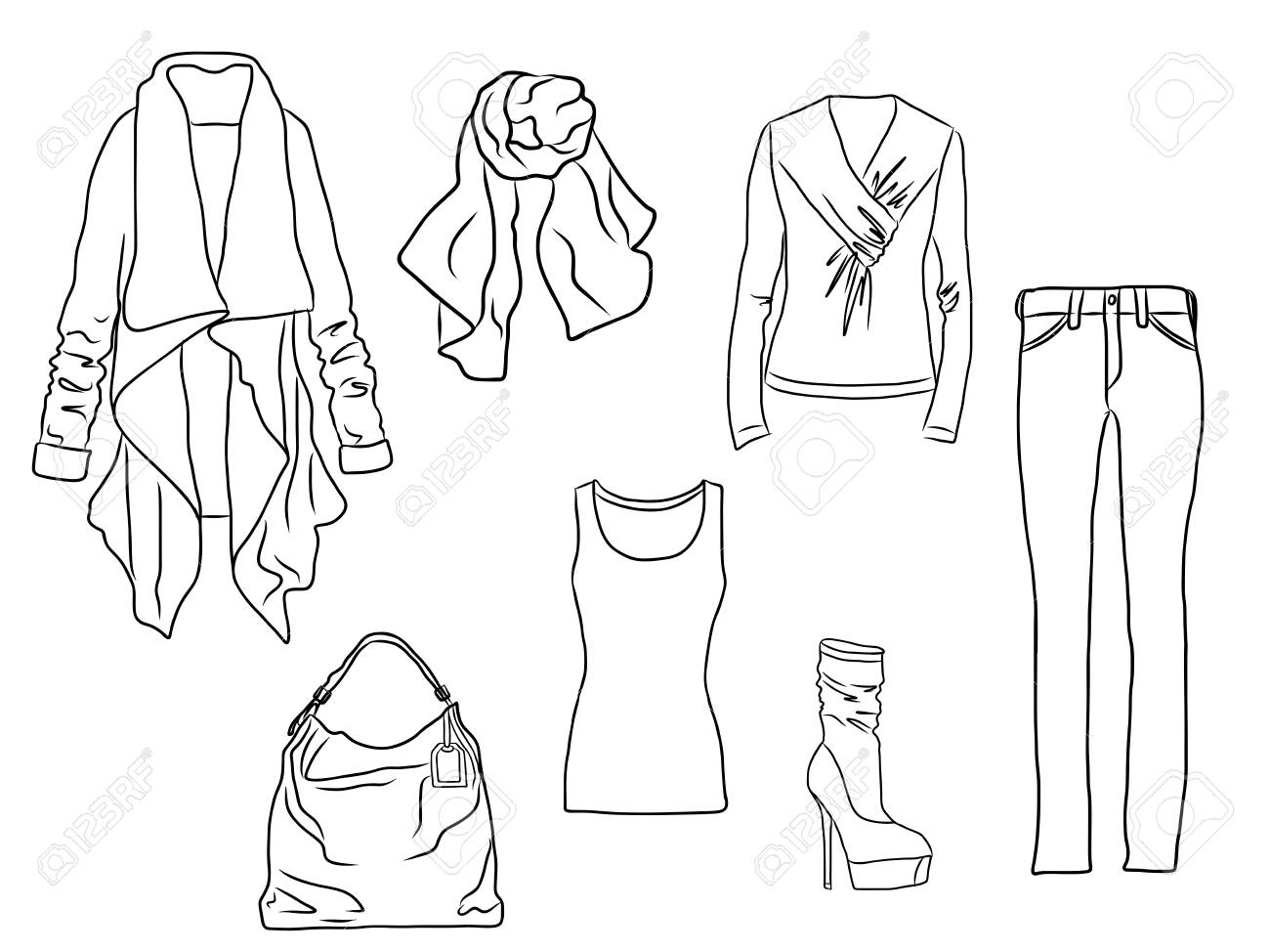 Vector stylish fashion set of woman s autumn, spring or winter clothes and accessories. Casual silhouette outfit with sweater, trousers, coat, scarf, bag, shirt and boots. EPS8 - 127711544