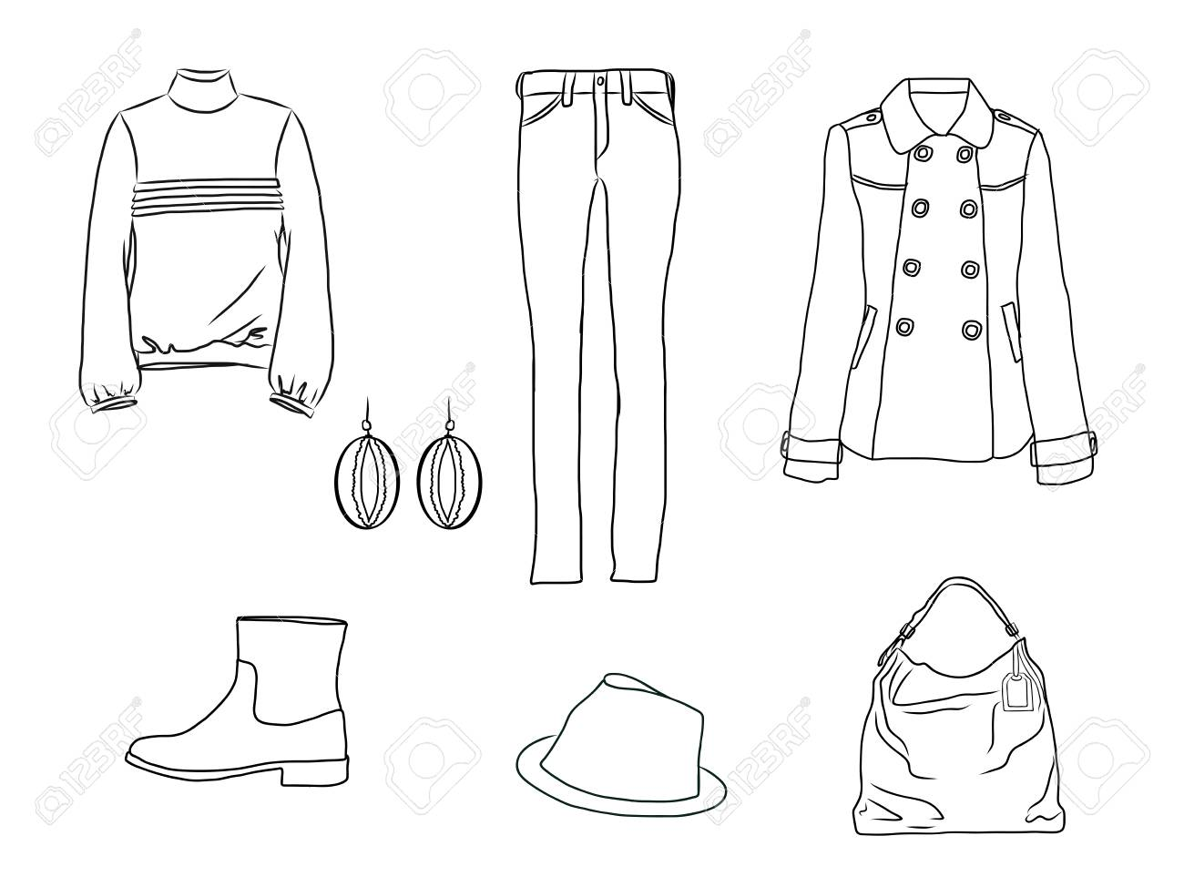 Vector stylish fashion set of woman autumn, spring or winter clothes and accessories. Casual silhouette outfit with jeans, sweater, coat, hat, bag, earrings and boots. EPS8 - 127711556