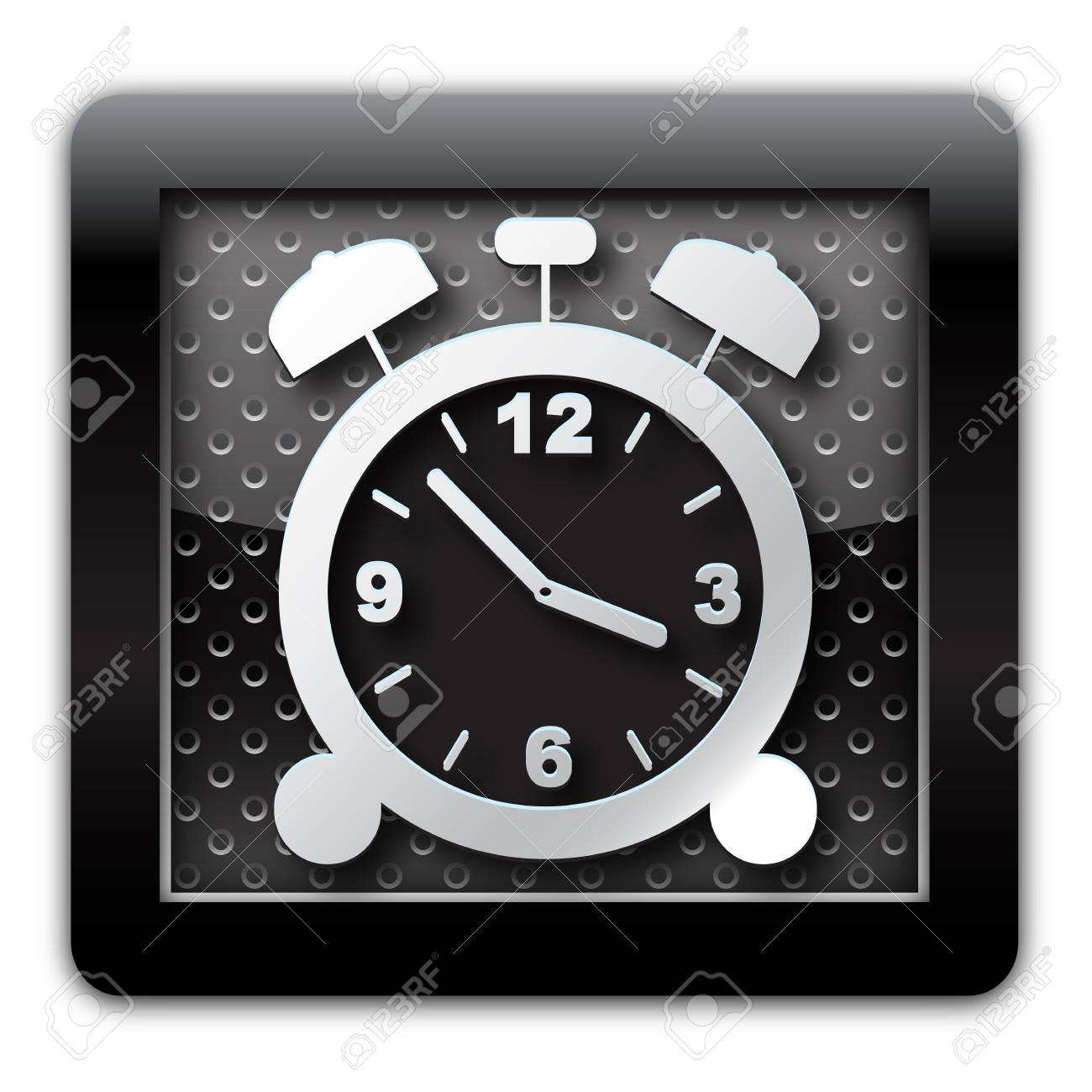 Alarm clock metallic icon Stock Photo - 11666745