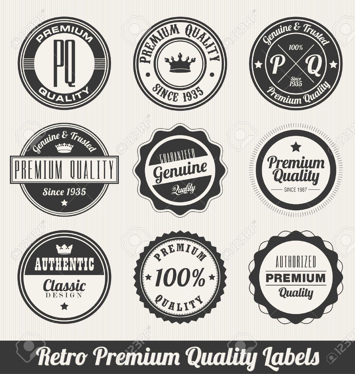 Retro Premium Quality Labels - Monochrome version Stock Vector - 14556195
