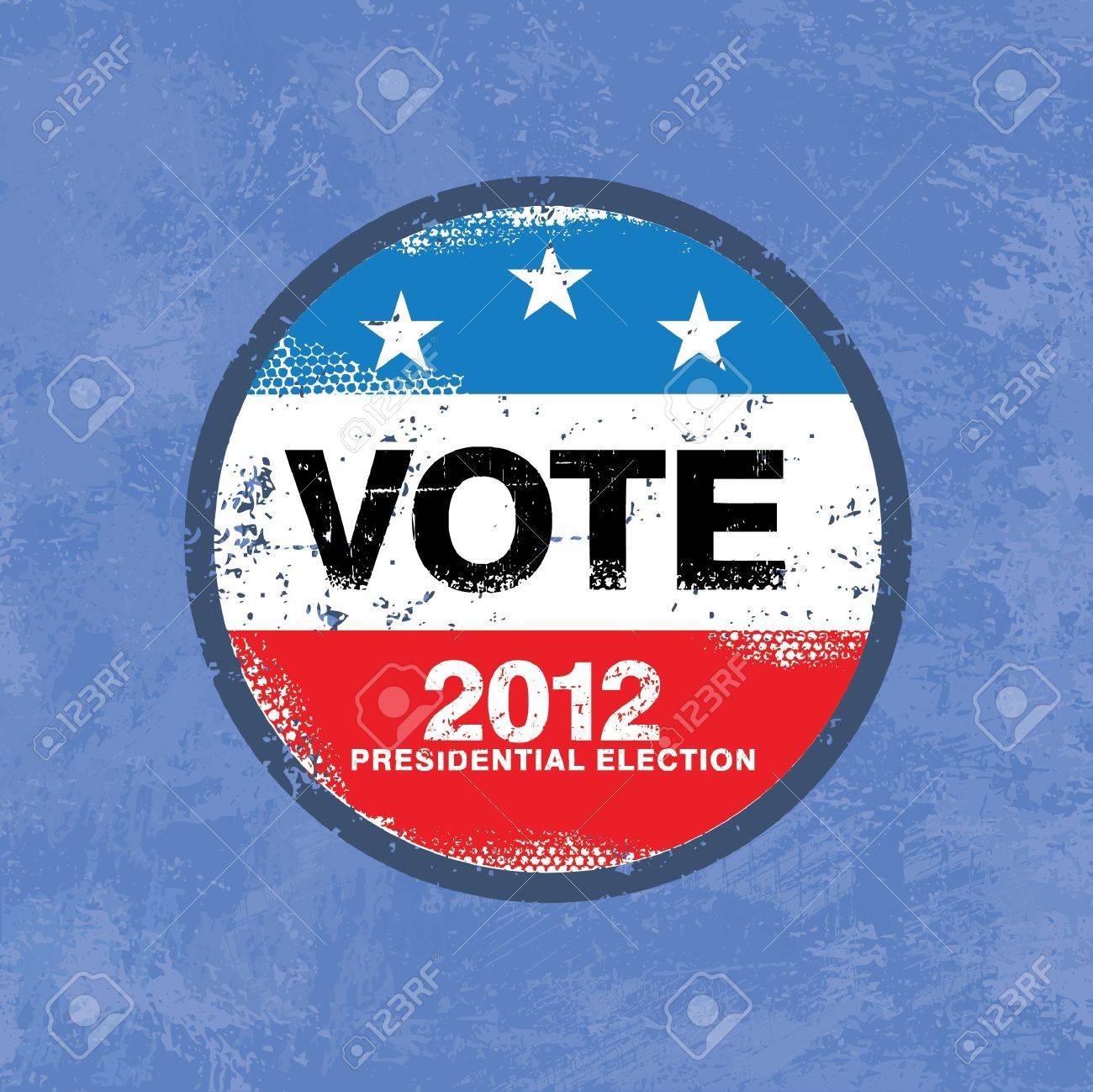 Vote 2012 USA Badge - Worn retro grunge style - 14554369
