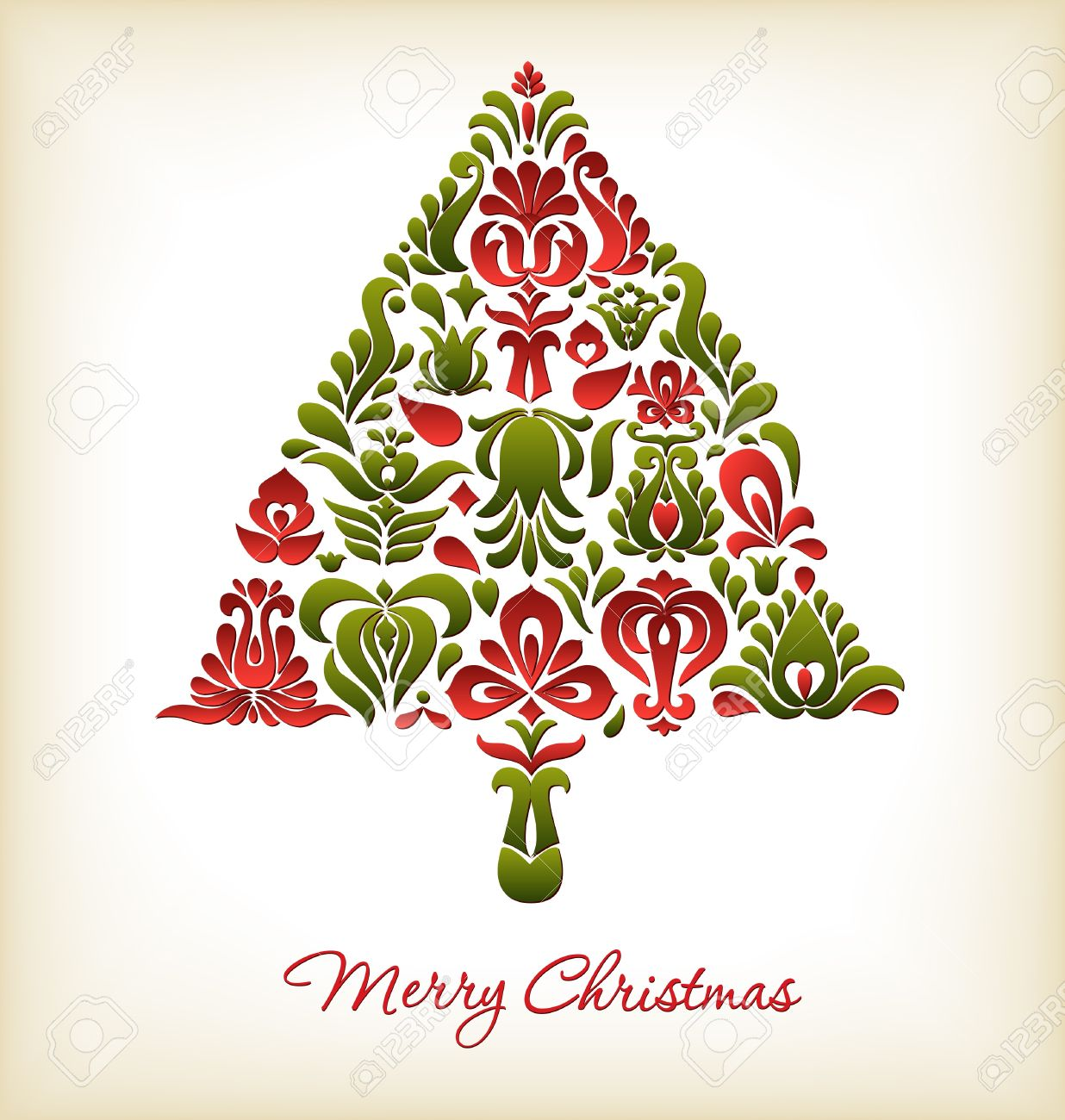 Floral Christmas Card Design Royalty Free Cliparts, Vectors, And ...