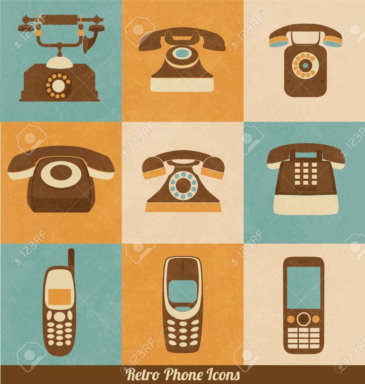 Retro Phone Icons Stock Vector - 18634089