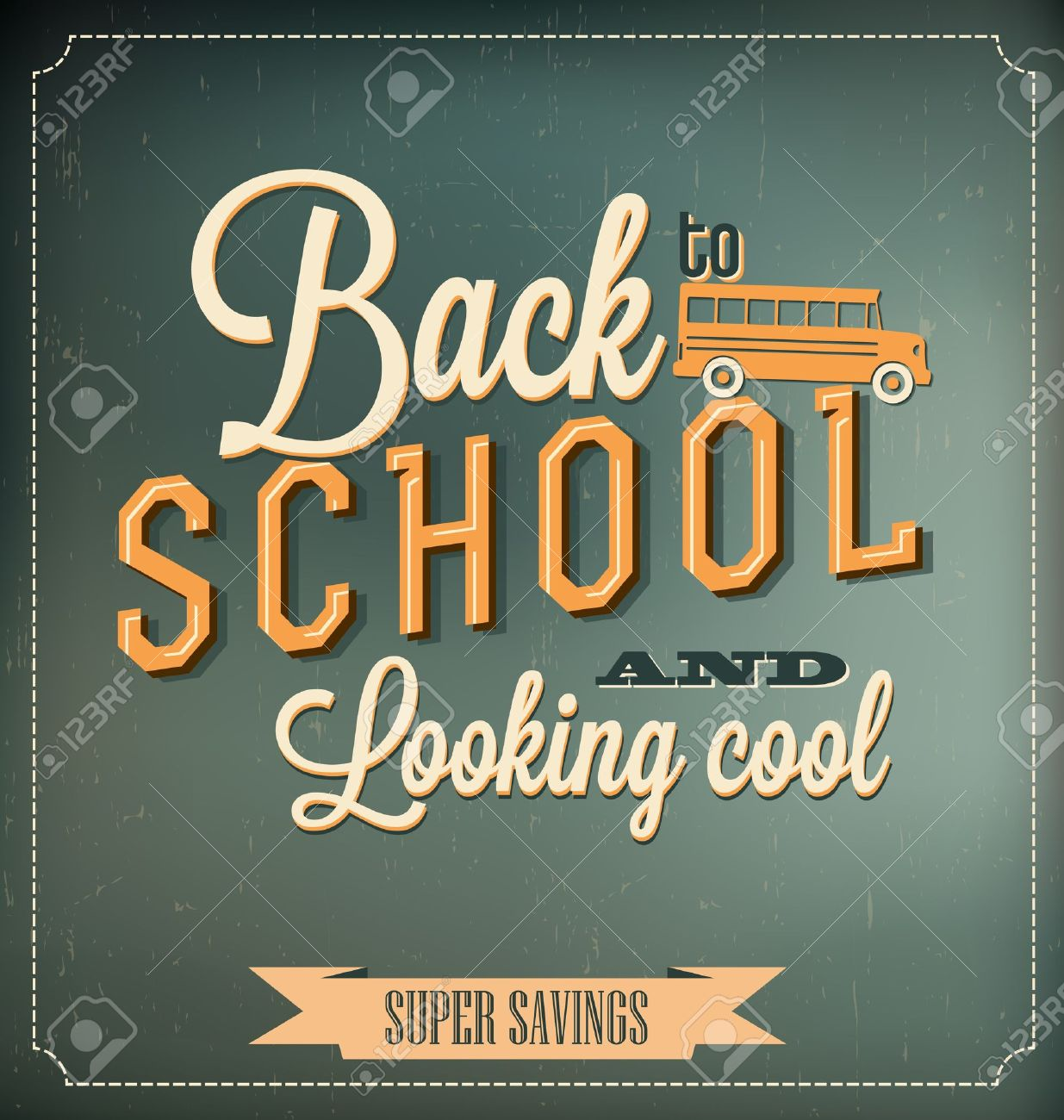 Back to School Typographic Elements - Vintage Style Back to School and Looking Cool Design Layout In Vector Format - 20893534