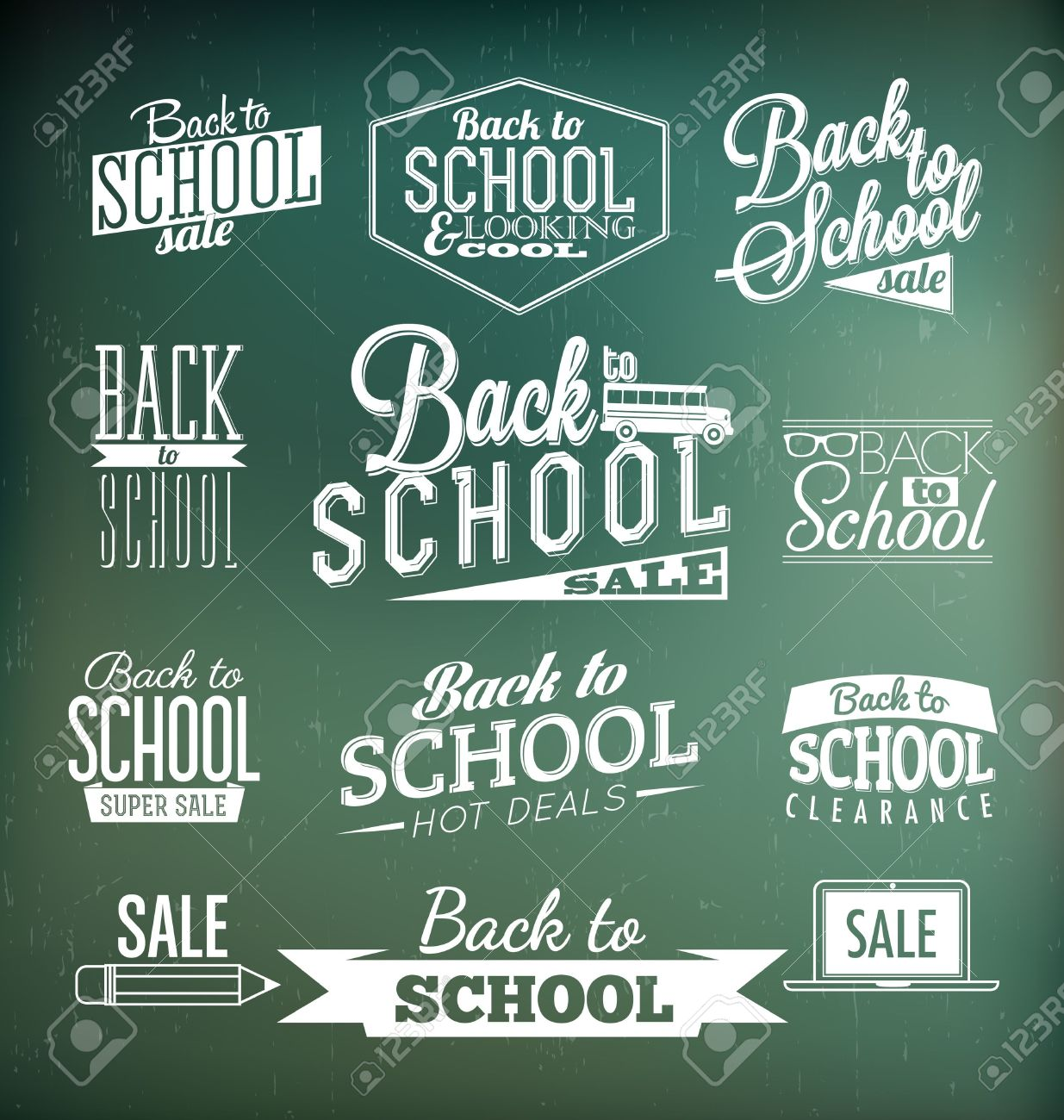 Vintage style ornaments - Back To School Calligraphic Designs Retro Style Elements Vintage Ornaments Sale Clearance Vector Set Stock