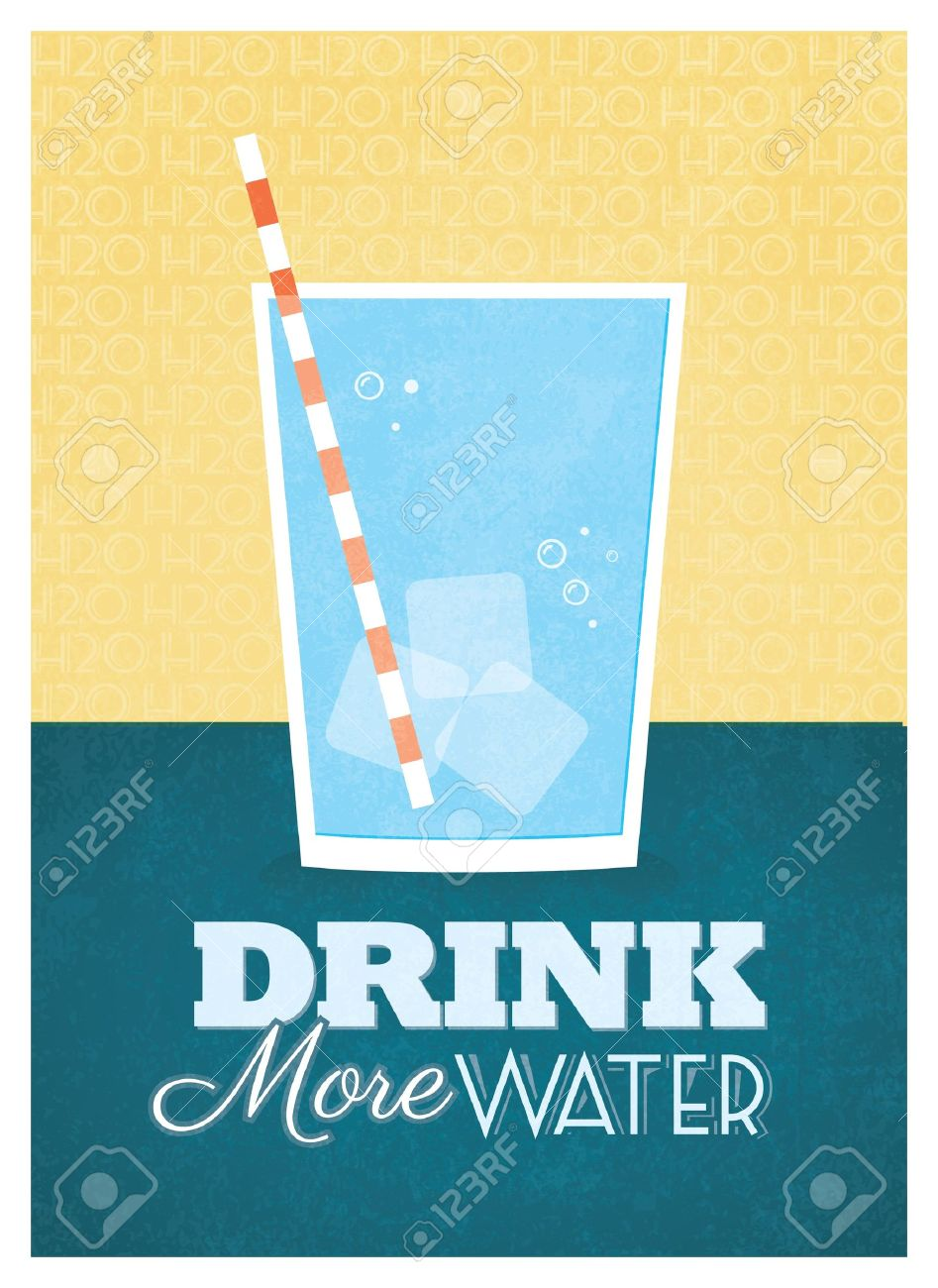 Graphic design poster quotes - Drink More Water Poster Design Stock Vector 20893583