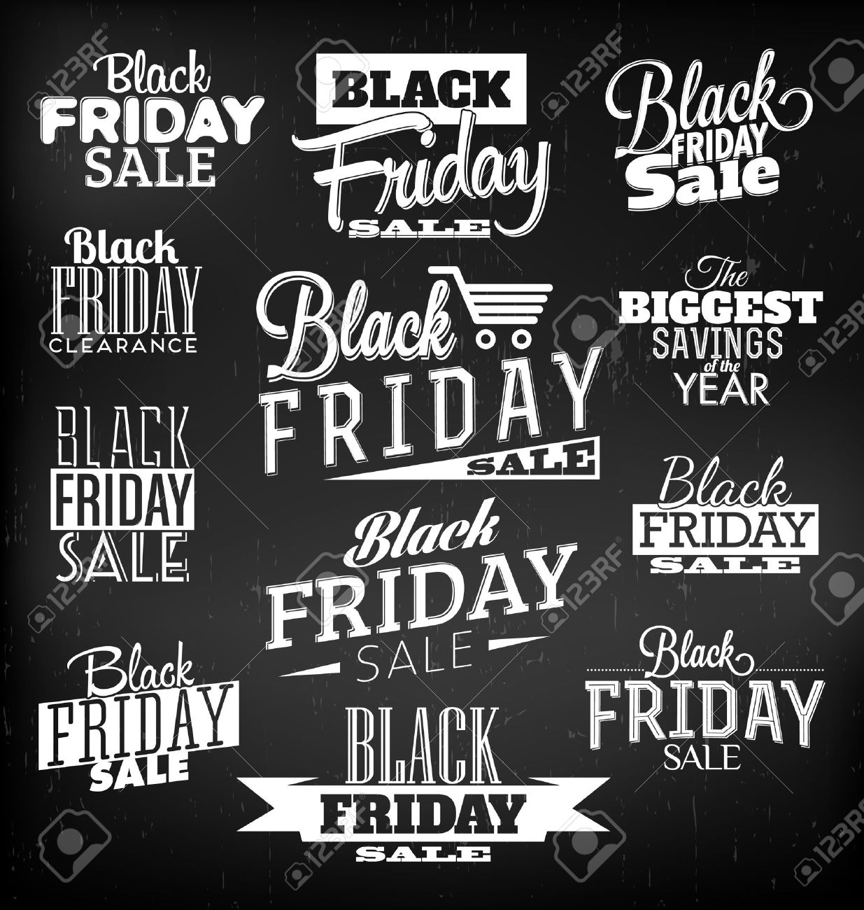 Black Friday Calligraphic Designs Retro Style Elements Vintage Ornaments Sale, Clearance Vector Set - 23076785