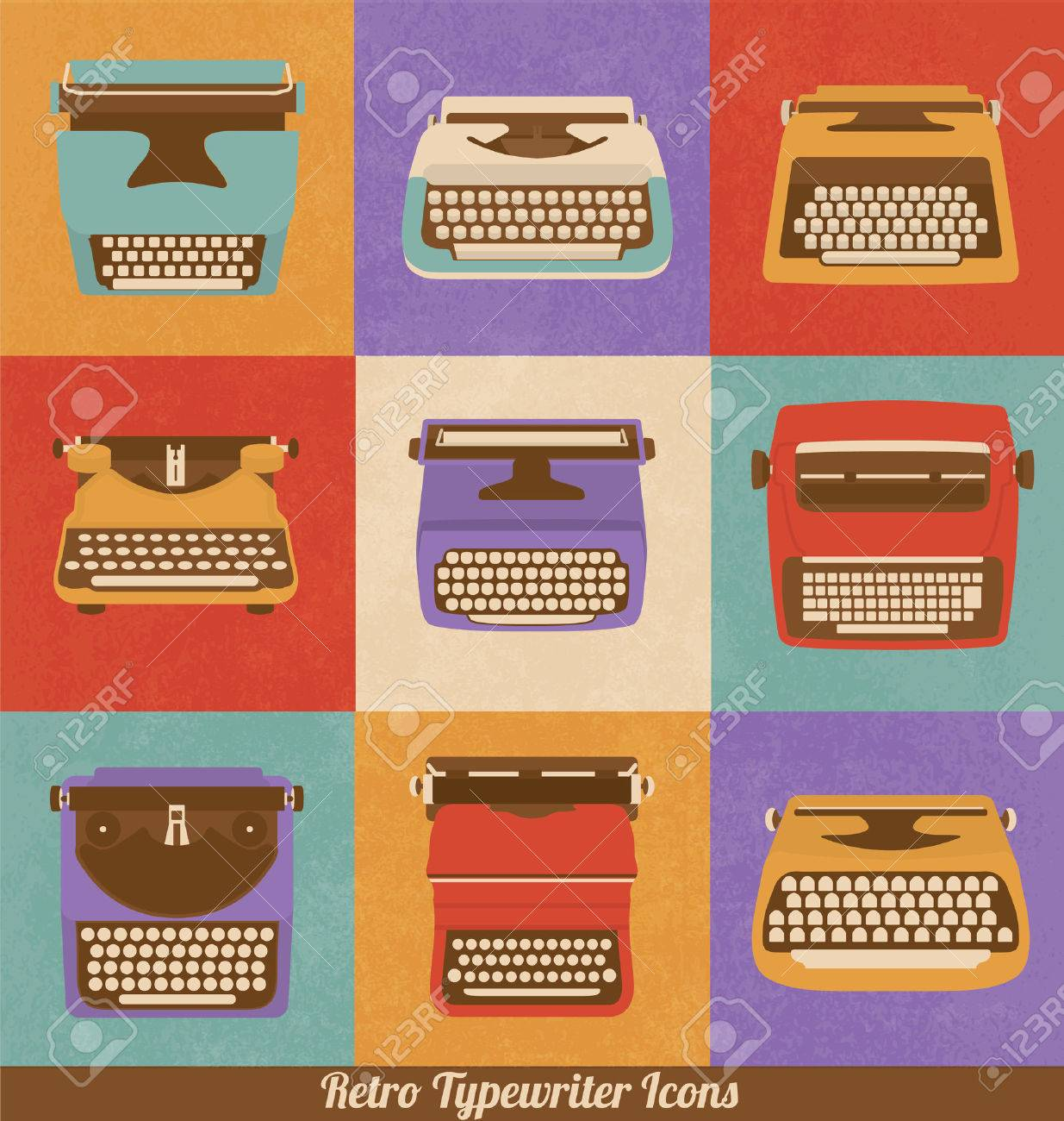 Retro Style Typewriter Icons - Vintage Elements - Nostalgic Design - Vector Set - 24014946