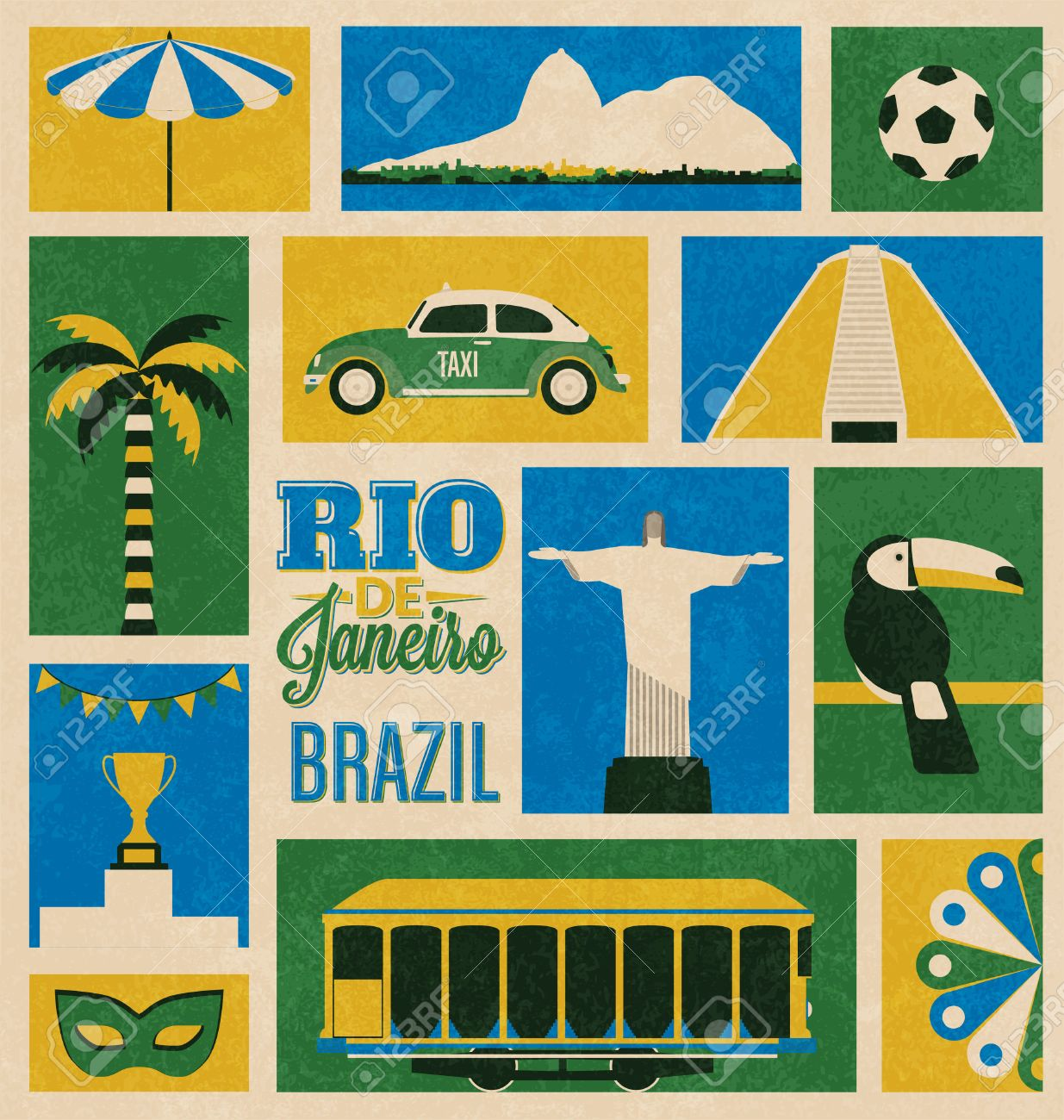 Retro Rio de Janeiro, Brazil Icons - 24939400