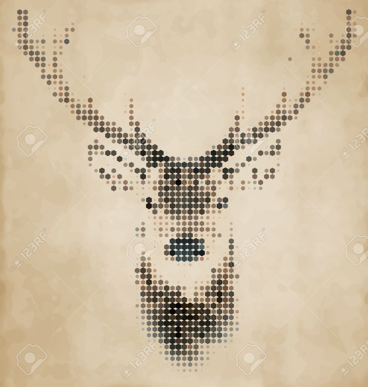 Très Portrait Cerf Fait De Formes Géométriques - Vintage Design Clip  PV68