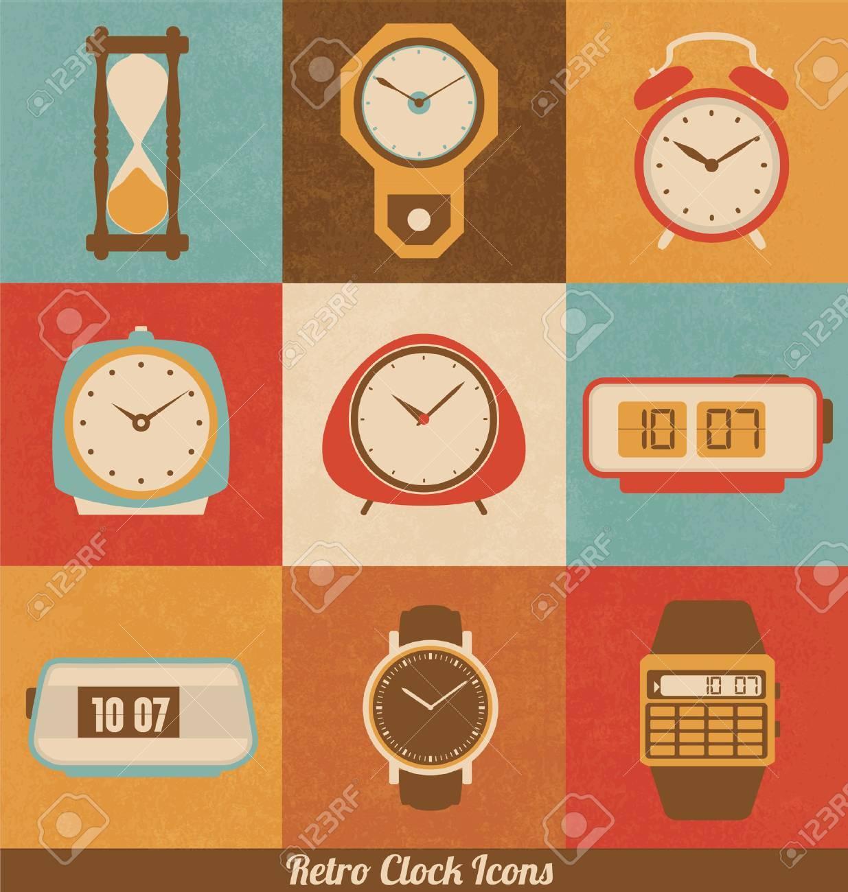 Retro Clock Icon Set - 33872316