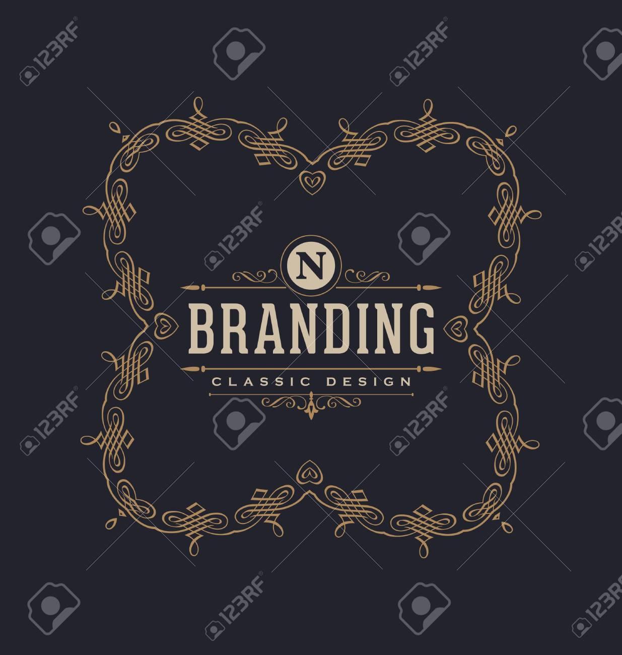 75852f379928 Modèle De Conception D étiquette Calligraphique - Style Ornemental Classique.  Élégant Cadre De Luxe Avec La Typographie - Logo Idéal Pour Le Restaurant,  ...