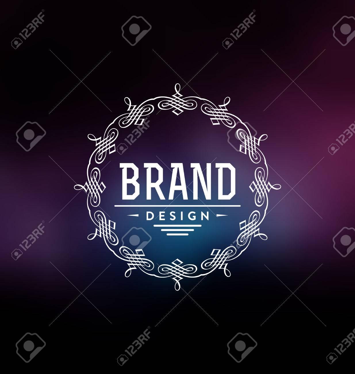a0554bae05c6 Banque d images - Modèle de conception d étiquette calligraphique - Style  ornemental classique. Cadre élégant et typographie sur fond coloré élégant  - Logo ...