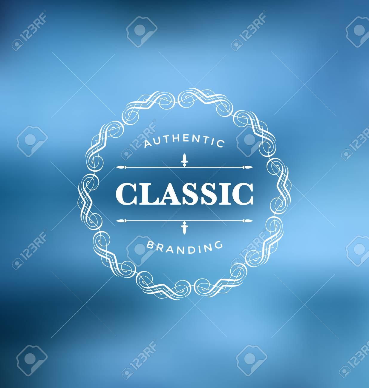 c6147e85f2ad Banque d images - Modèle de conception d étiquette calligraphique - Style  ornemental classique. Cadre élégant et typographie sur fond bleu cool -  Logo idéal ...