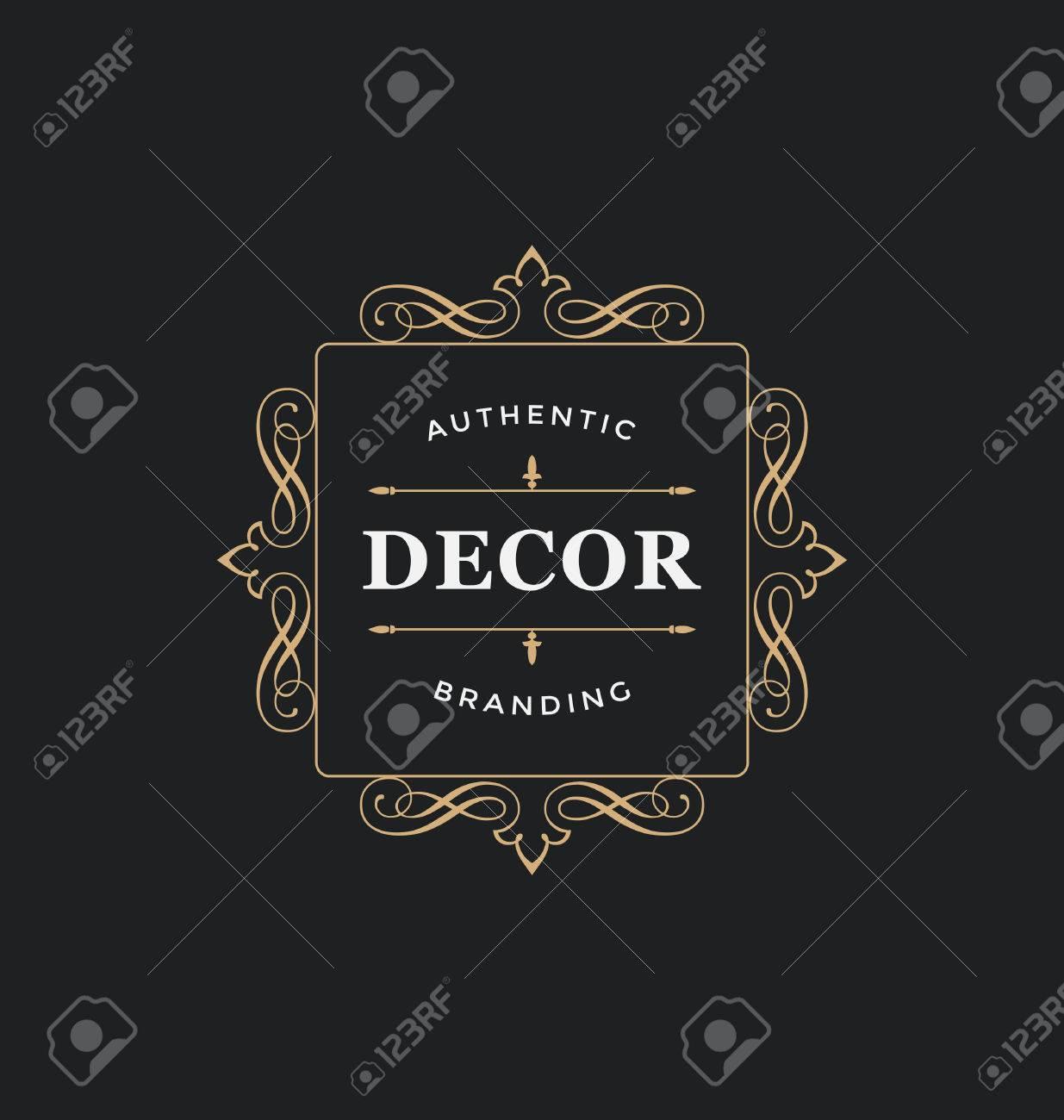 93d8b6a41066 Calligraphique De Conception D étiquettes Modèle - Classique Style  Ornemental. Cadre De Luxe élégant Avec La Typographie - Logo Idéal Pour  Restaurant, ...