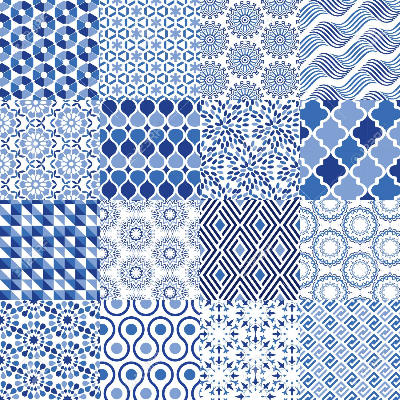 Universal Vector Pattern Set - Can be used as mixed pattern background - 45557456