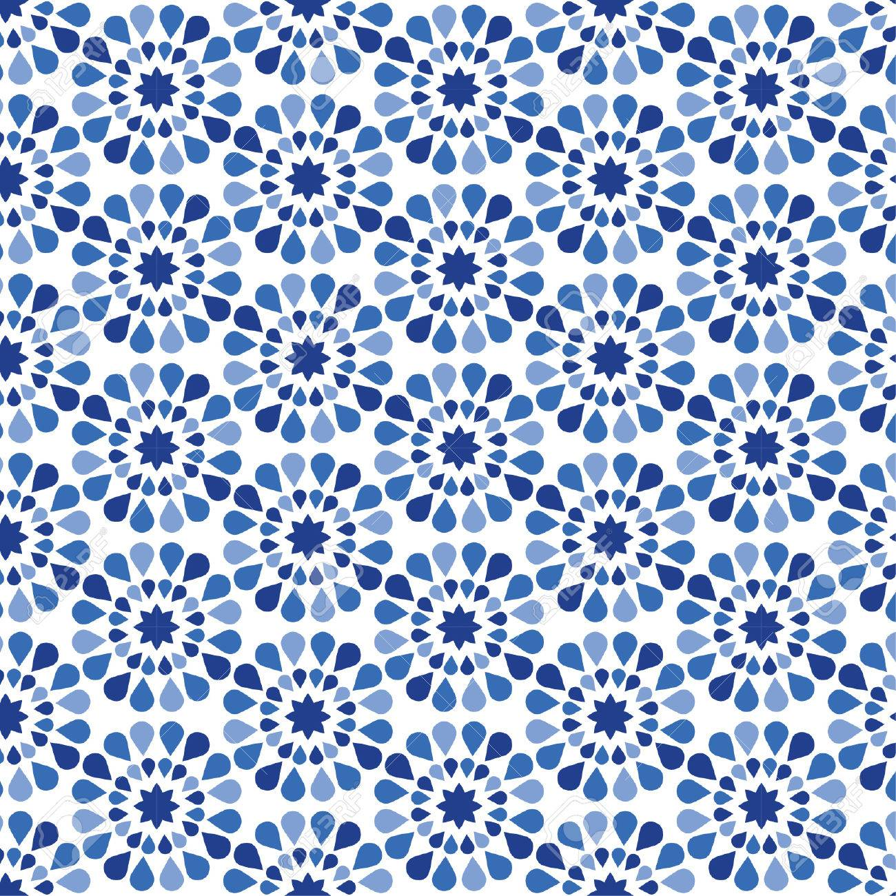 Blue Flower Pattern - Modern floral texture - Stylish abstract background - 45557568