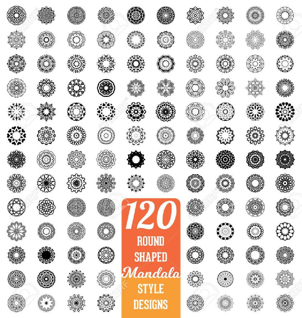 120 Round shaped Mandala style design collection - mega set of calligraphic ornamental elements - 45168097
