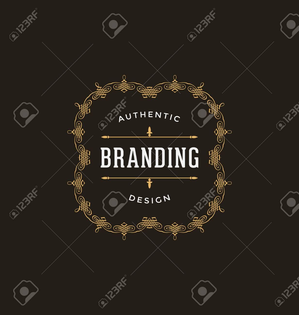 calligraphic label design template classic ornamental style