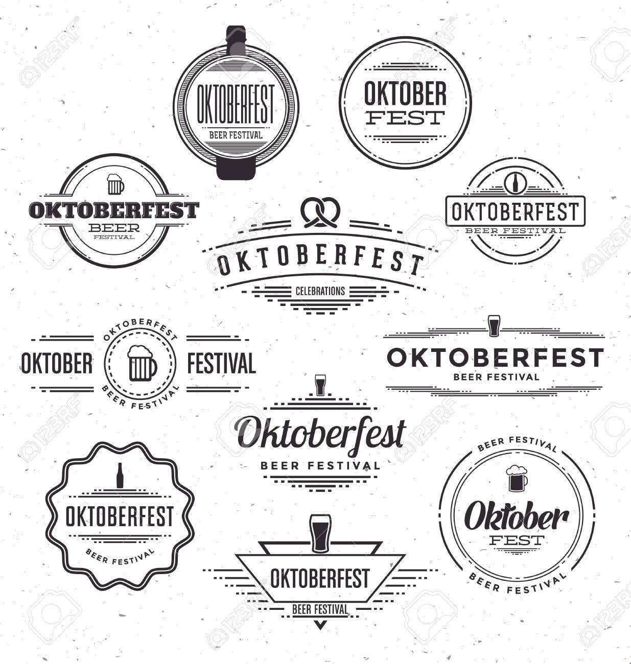 Set of Oktoberfest beer festival celebration retro typographic design templates - Textured vintage style background - 45168201