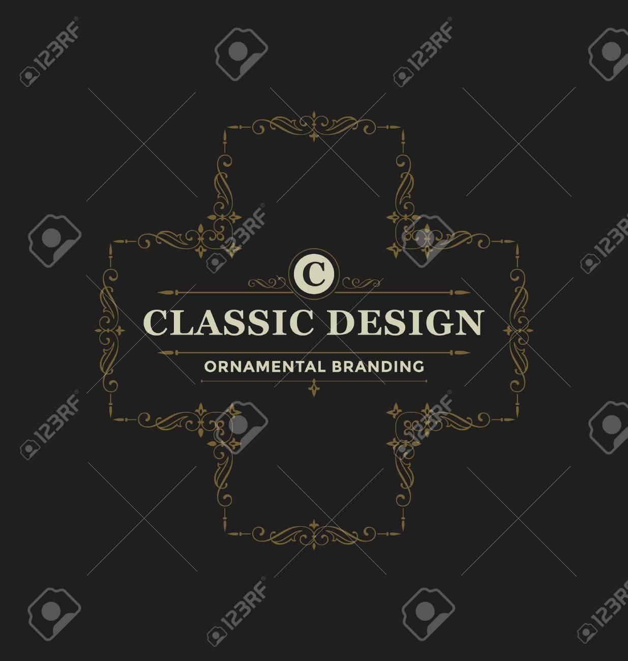 Calligraphic Label Design Template - Classic Ornamental Style ...
