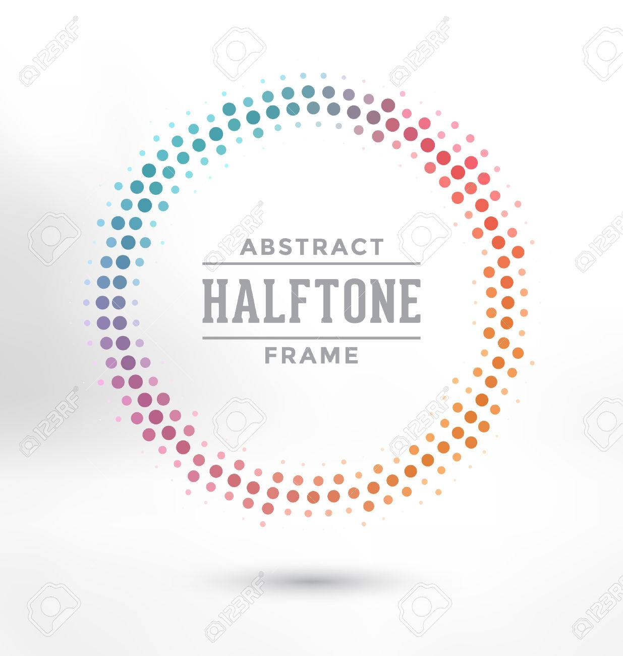 Abstract Halftone Circle Frame - Colorful Design - 45168338