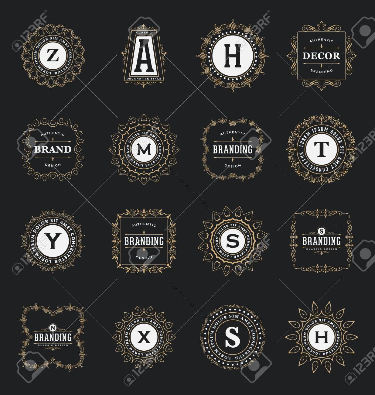 Set Of Calligraphic Label Design Templates