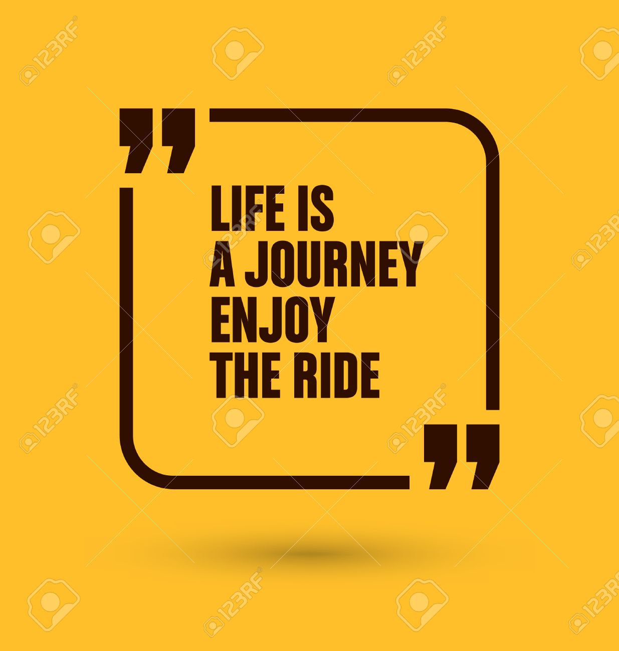 Framed Quote on Yellow Background - Life is a journey enjoy the ride - 45168594