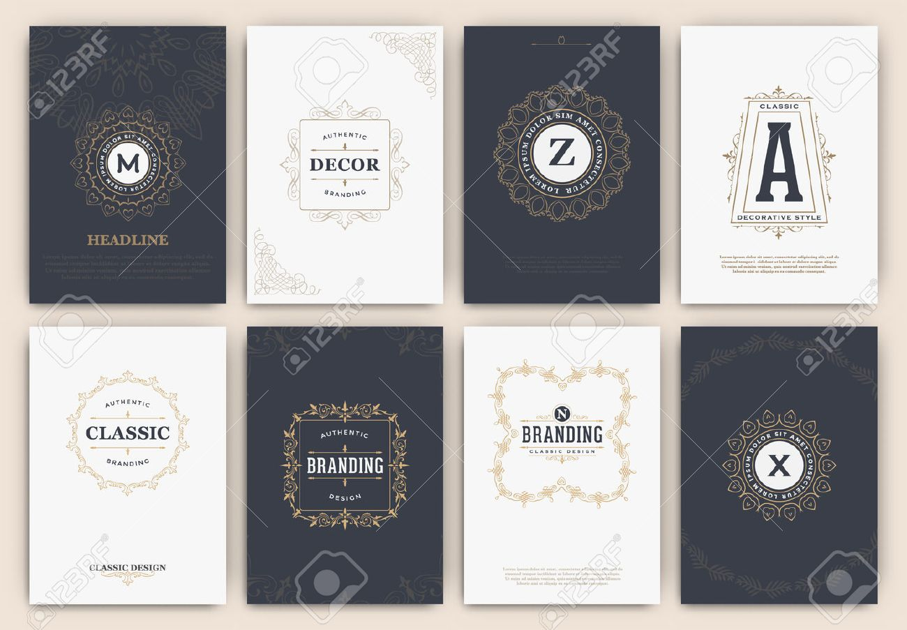 antique calligraphic flyer design template set classic ornamental style elegant luxury frame with