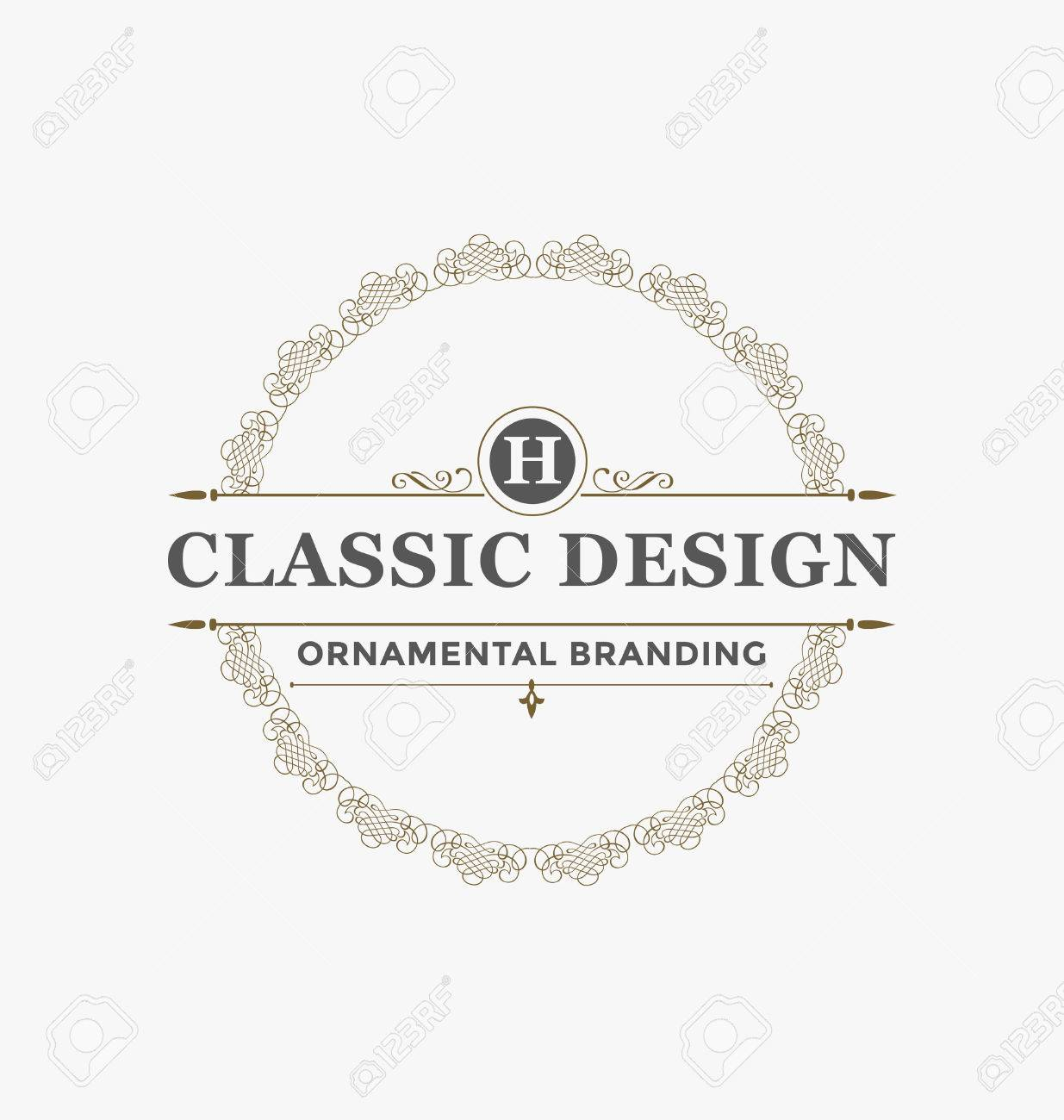 Calligraphic Label Design Template - Classic Ornamental Style. Elegant luxury frame with typography - Ideal logo for restaurant, hotel, cafe and other businesses with classic corporate identity visual - 45168633