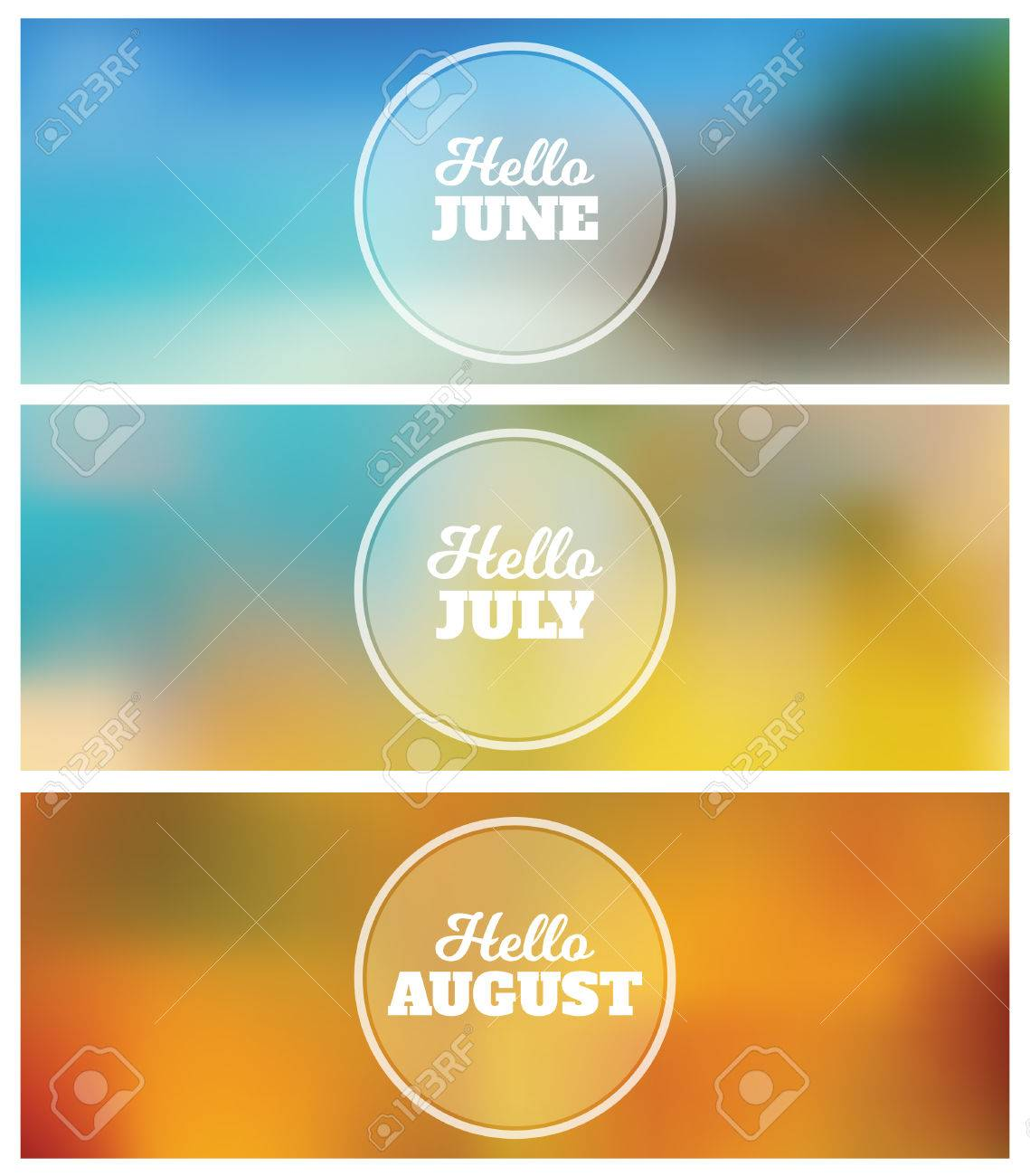 Hello June   July   August   Summer Timeline Cover Graphic Design  Background Set Stock Vector