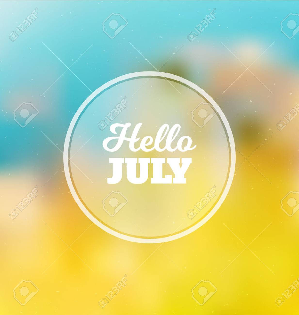Hello July   Typographic Greeting Card Design Concept   Colorful Blurred  Background With White Text Stock