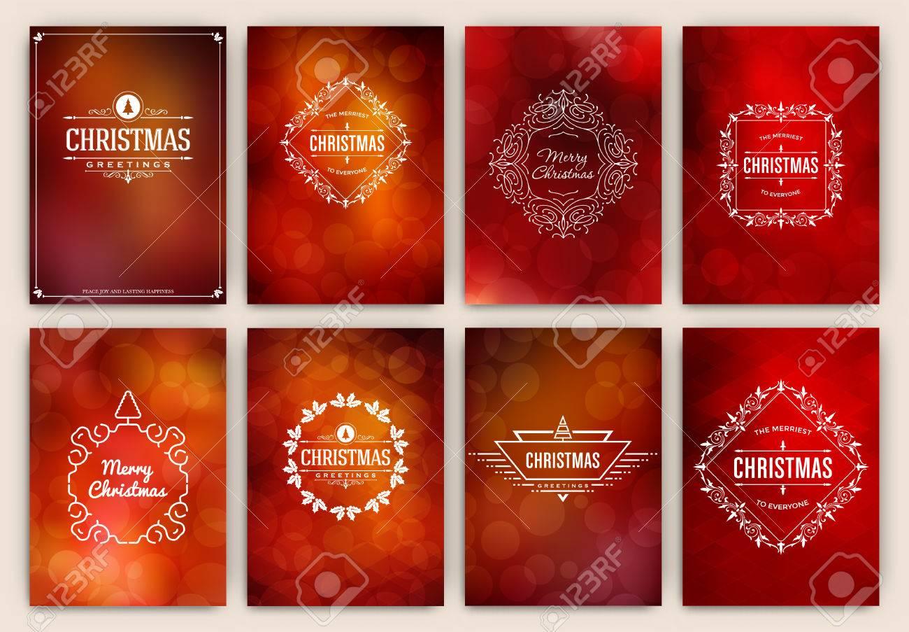 Weihnachtskarten Design Satz Sammlung Elegante Stilvolle Grüße Mit