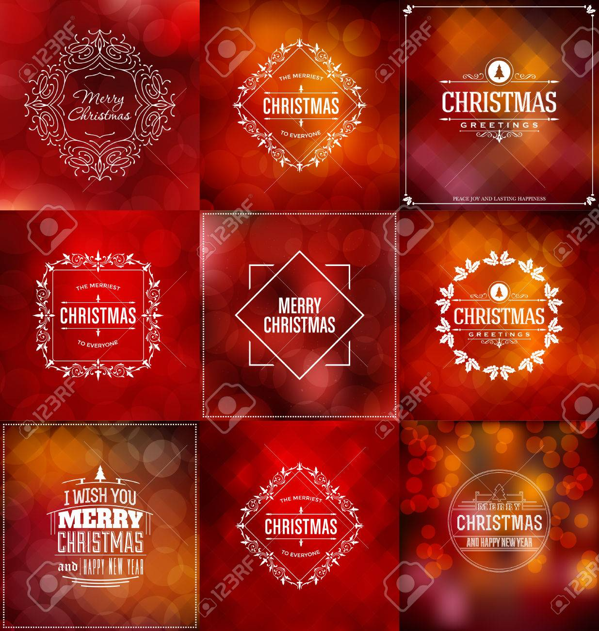 Christmas Card Design Set - Collection of Elegant Stylish Greetings with Typographic Elements - 48761357