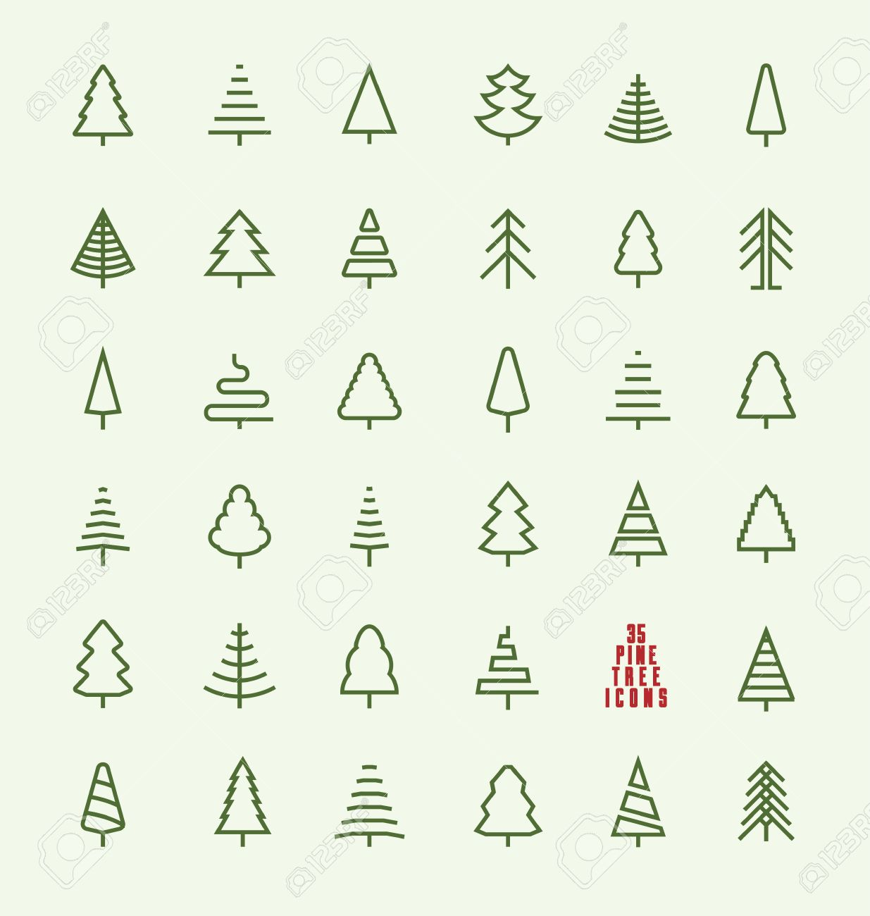 Thin Line Pine Tree Icon Set - A collection of 35 christmas tree line icon designs on light background - 48761375