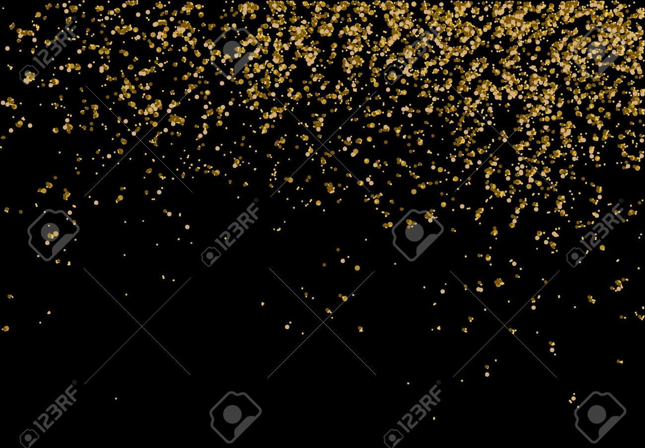 Golden confetti - Gold glitter texture on a black background - Golden grainy abstract texture - Small particles falling - 50928716