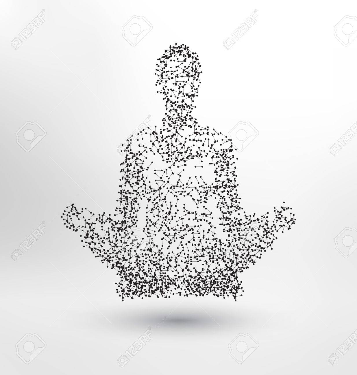 Abstract Molecule based human figure concept - Illustration of a human body in lotus pose - meditating person - 61246723