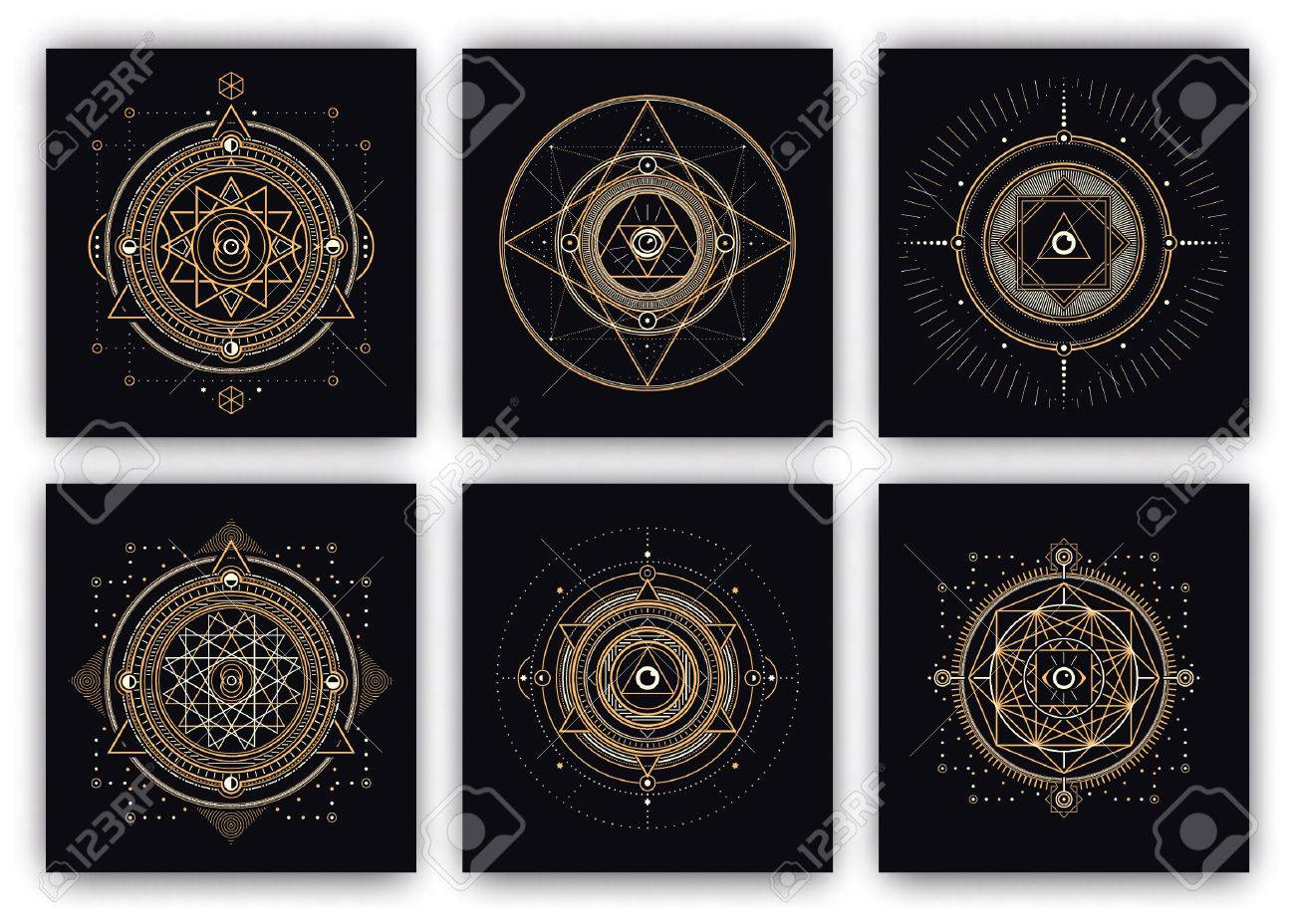 Sacred Symbols Design Set - Collection of Abstract Geometric Illustrations - Gold and White Elements on Dark Background - 61271497